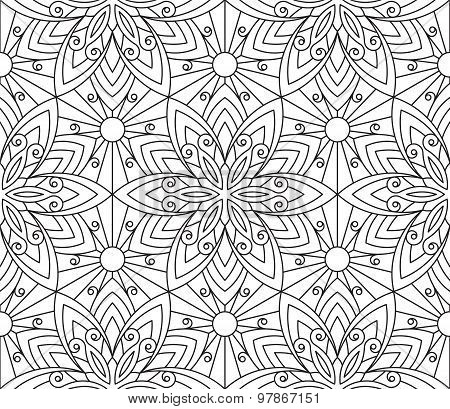 Rich Decorated Calligraphic Outlined Stroke Monochrome Seamless Pattern. Vector Ornate Floral Design