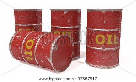 red oil barrels isolated on white