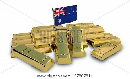Australian economy concept with gold bullion and national flag