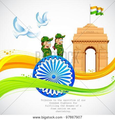 illustration of India Gate and Ashok Chakra with wavy Indian flag