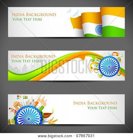 illustration of set of banner for colorful India