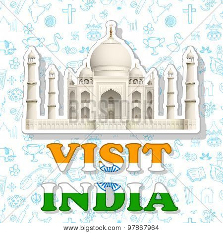 illustration of sticker of visit India with Taj Mahal
