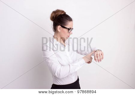 Busy Business Woman Checking The Time