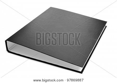 a new black ring binder on a white background