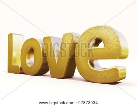 3d golden word love in white studio