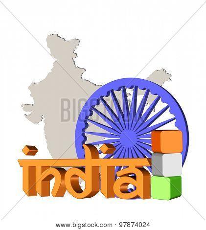 3d illustration of India theme