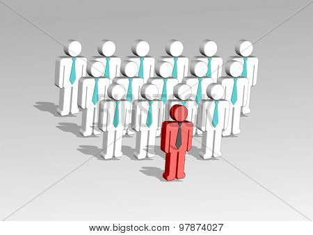 3d illustration of a group of employees and  their leader