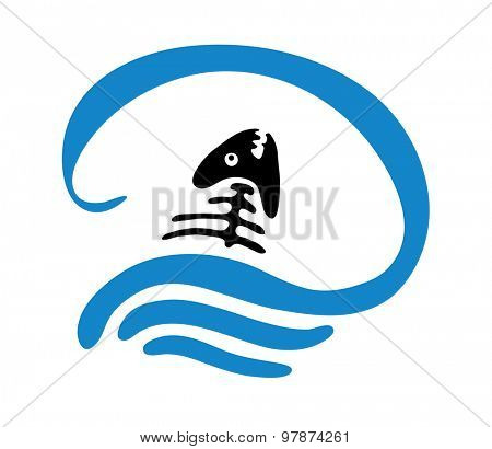 fish bone in water, vector logo illustration