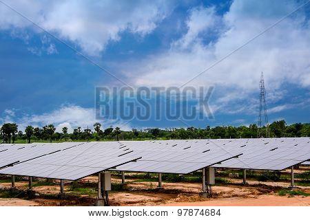Solar Farm Natural Sky And Green Solar Panel.
