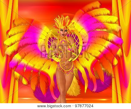 Carnival dancer woman in colorful feathers and headdress.