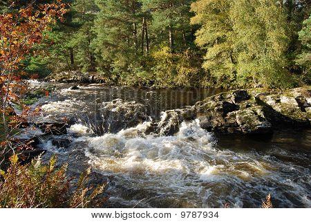 Autumn Scenery At Falls Of Dochart