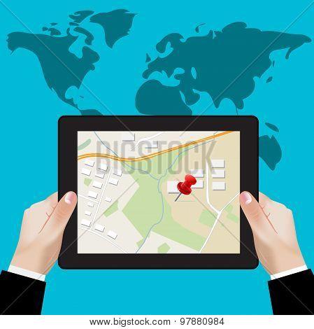 tablet navigation; gps concept; location on touchscreen tablet; illustration in flat design for web