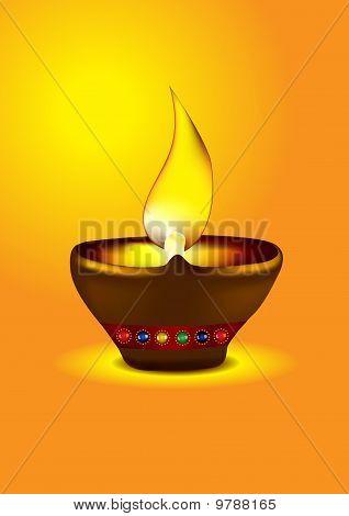 Diwali Diya - Oil Lamp Vector Illustration