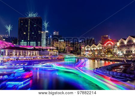 Singapore Landmark: Clarke Quay On Singapore River At Night