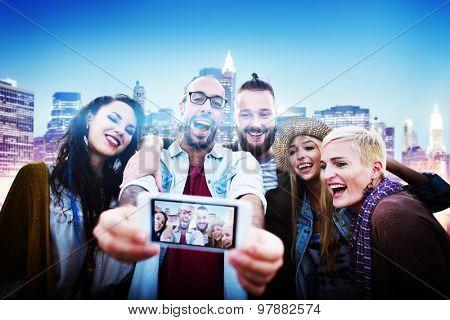 Diverse People Friends Fun Bonding Smart Phone Concept
