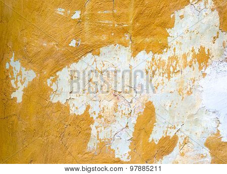 Cracked Painted Yellow Concrete Wall Background