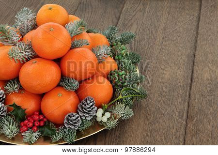Christmas satsuma tangerine orange fruit, holly,mistletoe, ivy and spruce pine fir with snow over oak background with copy space.