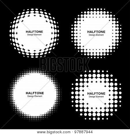 Set of Abstract White Halftone Design Elements