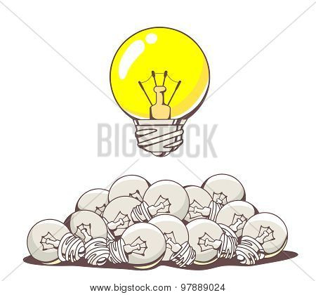 Vector Illustration Of Yellow Big Lightbulb Above Pile Of Small Lightbulbs On White Background.