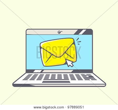 Vector Illustration Of Blue Laptop With Yellow Envelope On Color Background.