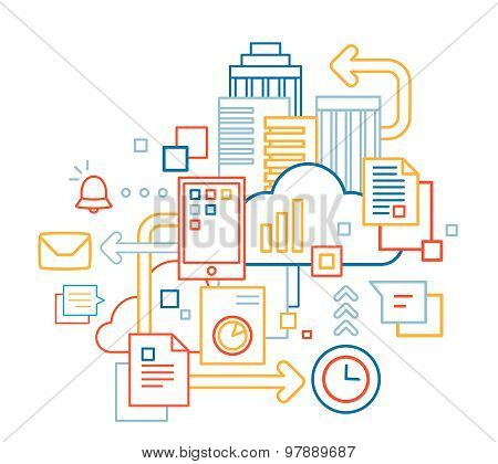 Vector Linear Illustration Of Color Mobile Technology Set On White Background.