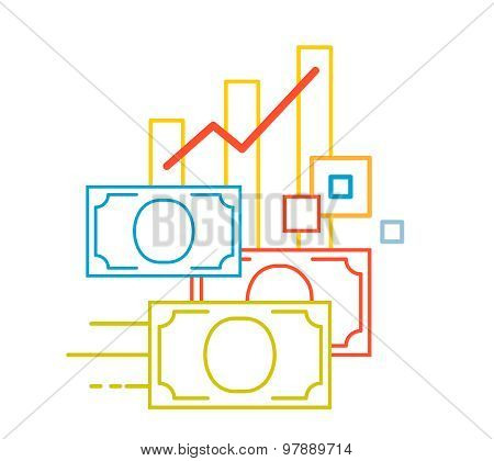 Vector Linear Illustration Of Color Graph And Money On White Background.