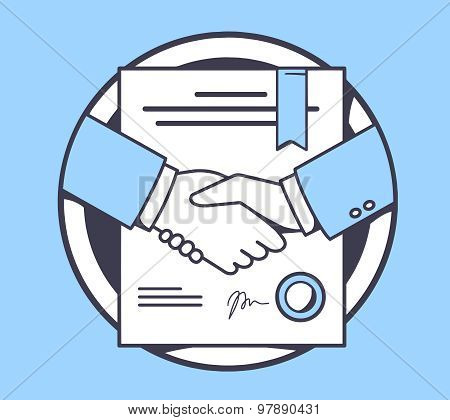 Vector Illustration Of Handshake With Contract Signed And Sealed On Blue Background.