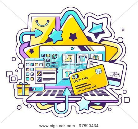Vector Color Illustration Of Online Payment Via Credit Cards. Shopping Via Laptop On Light Backgroun
