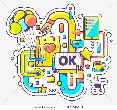 Vector Colorful Illustration Of Shopping Online And Ok Button On Light Background.