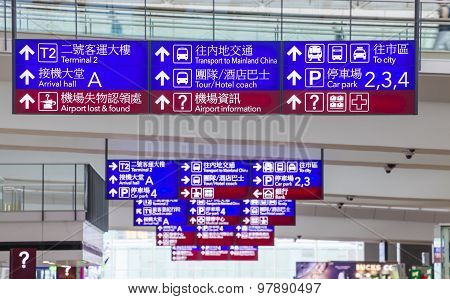 Airport information signs