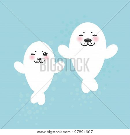 card design Funny white fur seal pups, cute winking seals with pink cheeks and big eyes. Kawaii albi