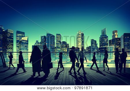Business People Global Commuter Walking City Concept