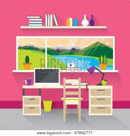 Modern Interior In Pink.