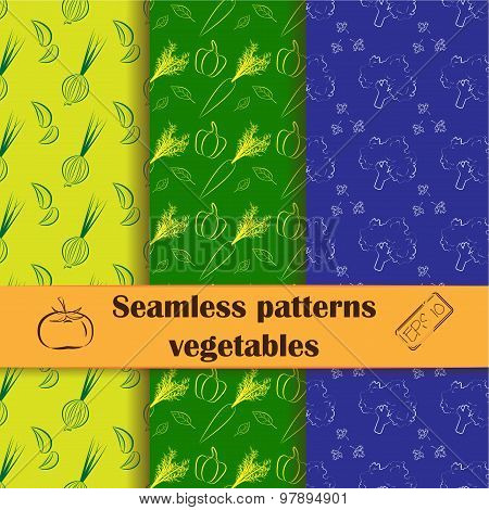 Collection of hand drawn seamless patterns with vegetables