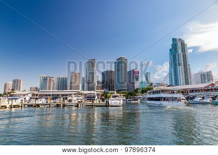 View Of Miami Marina And Bayside Marketplace