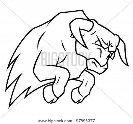 Angry bull attacking