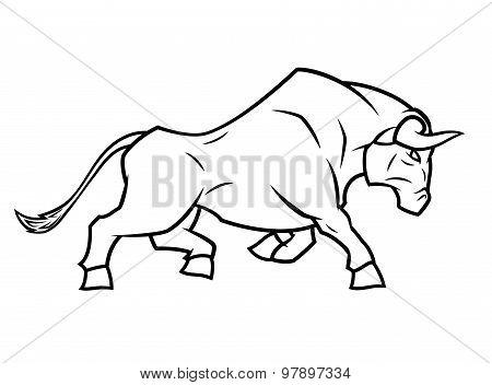 Angry bull running