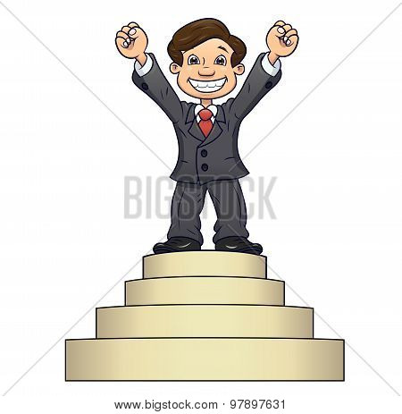 Businessman is standing on pedestal 2