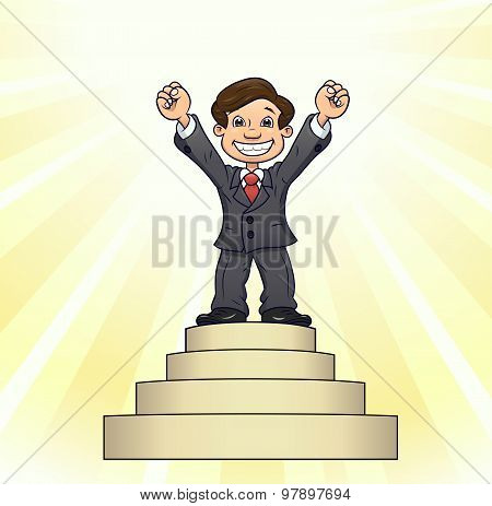 Businessman is standing on pedestal 3