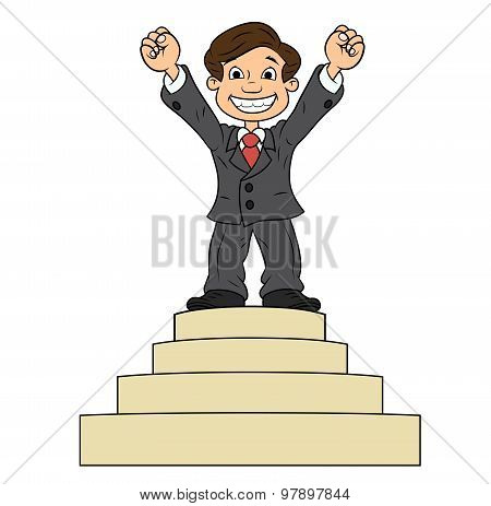 Businessman is standing on pedestal