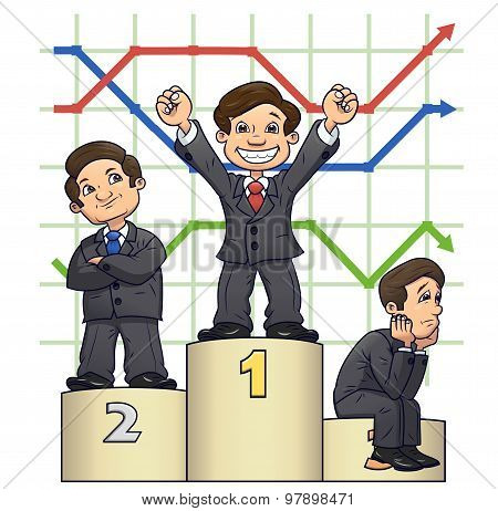 Businessmen are standing on pedestal 4