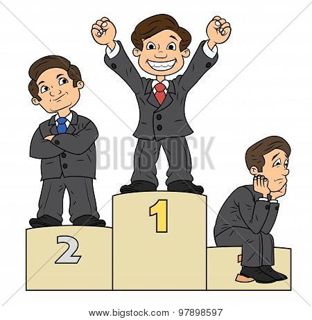 Businessmen are standing on pedestal