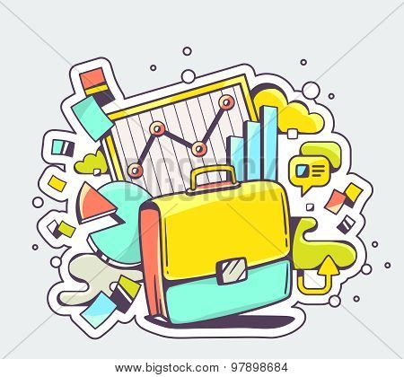 Vector Color Illustration Of Briefcase With Business Graphs On Light Background.