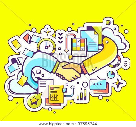 Vector Colorful Illustration Of Handshake With Documents And Graphs On Yellow Background.