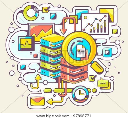 Vector Color Illustration Of Search Engines On Light Background.
