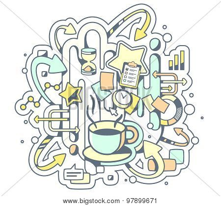 Vector Color Illustration Of Coffe Break And Office Work On Light Background.