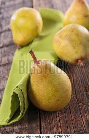 pear on wood background