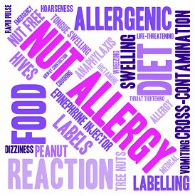 foto of anaphylaxis  - Nut allergy word cloud on a white background - JPG