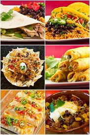 picture of enchiladas  - Collage of various Mexican dishes including enchiladas taquidos nachos and fajitas - JPG