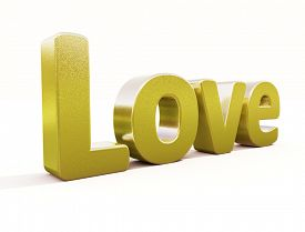 picture of glans  - 3d golden word love in white studio - JPG